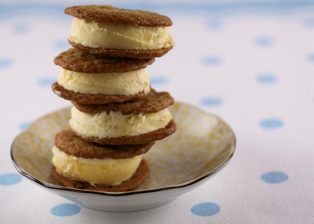 Peach and Brown Sugar Cookie Ice Cream Sandwiches