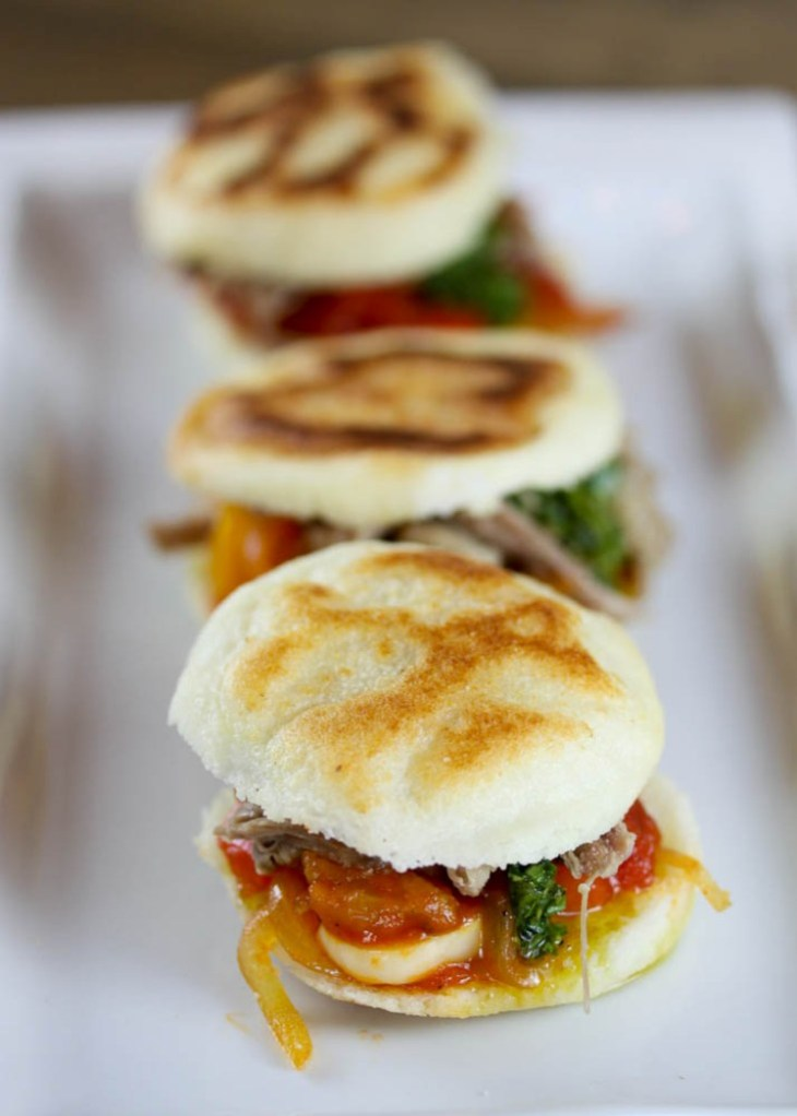 Arepas with Shredded Lamb Shoulder, Sofrito and Herb Oil ...