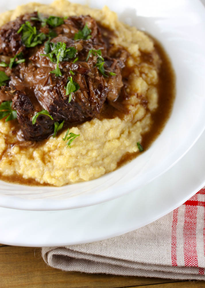 Root Beer Braised Short Ribs witl Polenta