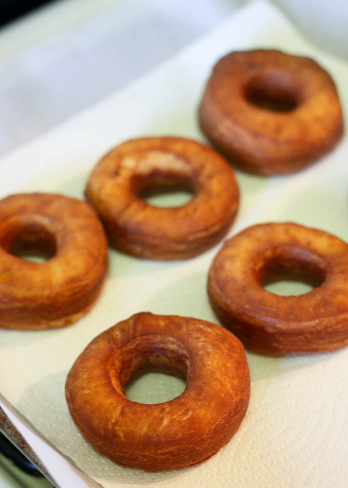 Golden Brown Doughnuts Ready to be Glazed