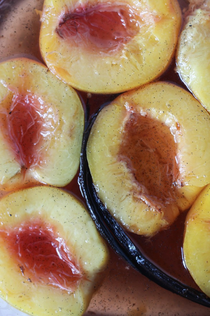 Storing the Poached Peaches in Syrup