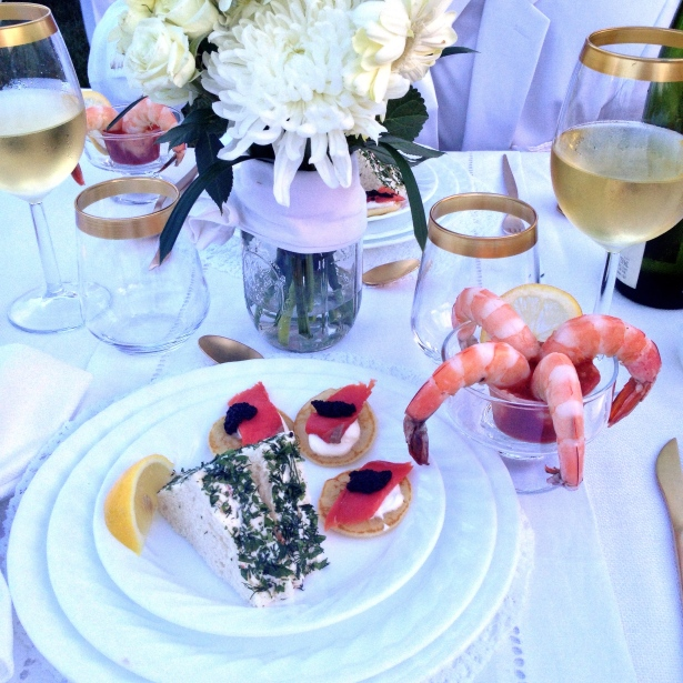 Appetizers: smoked salmon & cream cheese sandwiches with herb crust, blinis with creme fraiche/smoked salmon/caviar, and shrimp cocktail