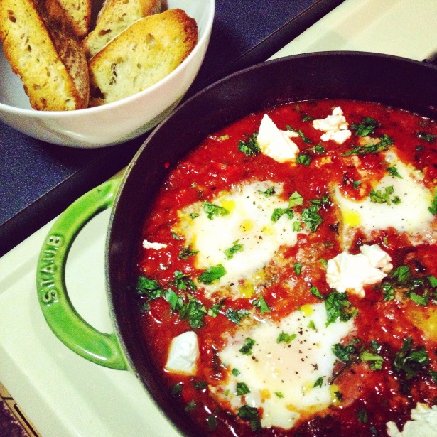 Shakshuka with Kale and Goat Cheese
