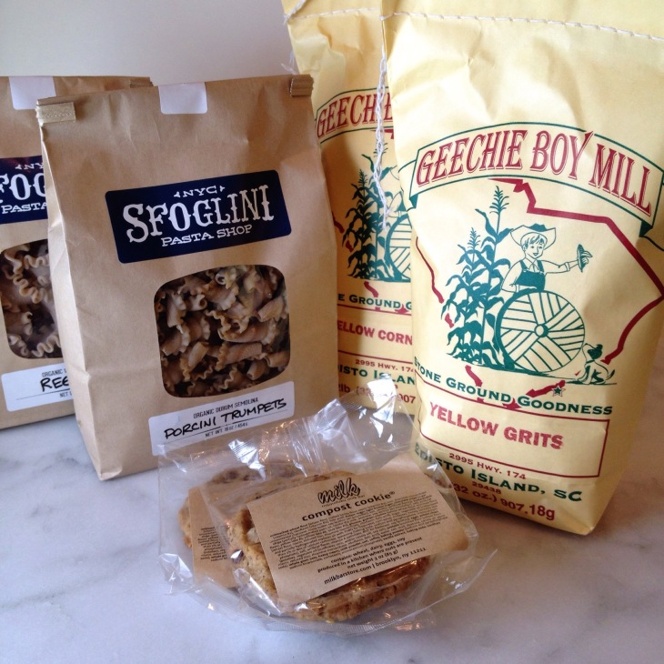 My purchases at Emporiyum: Sfoglini whole wheat reginetti and porcini trumpets, Geechie Boy Mill yellow corn grits and cornmeal, Momofuki Milk Bar compost Cookies