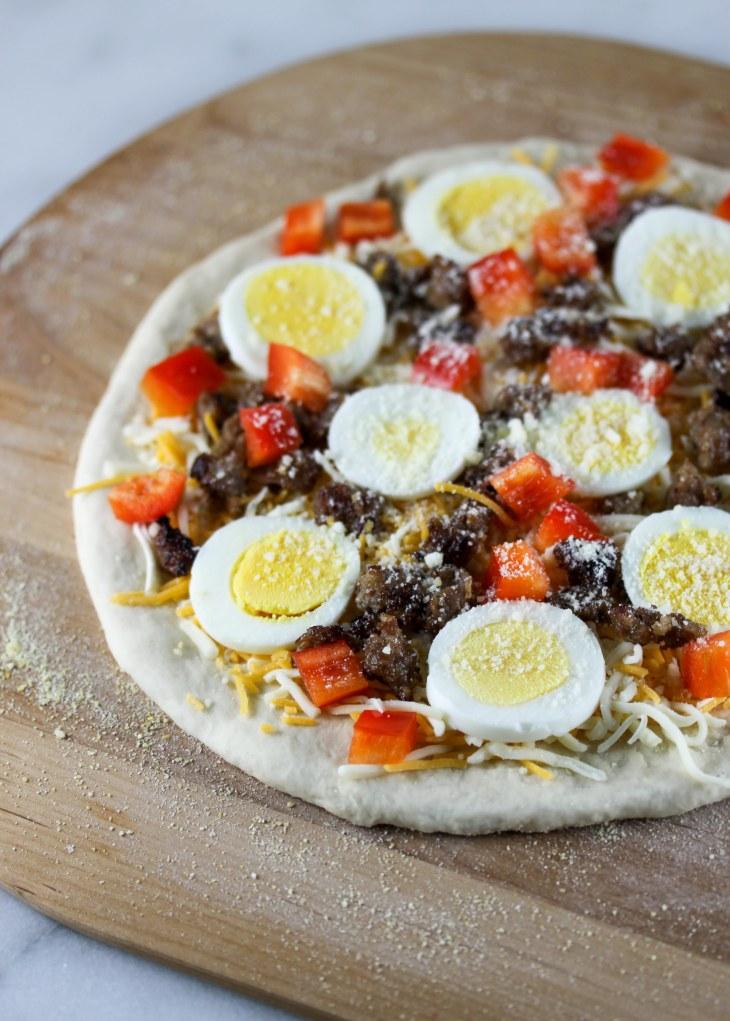 Breakfast Pizza Before Baking