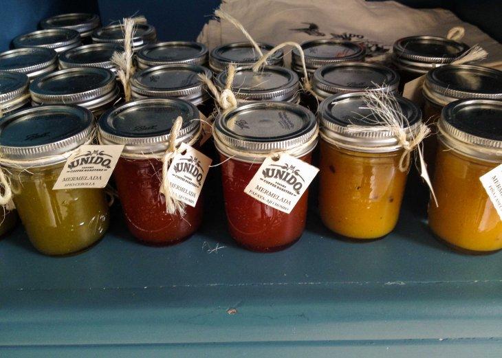House made jams: celery & onion, papaya & habanero, & pineapple-cinnamon