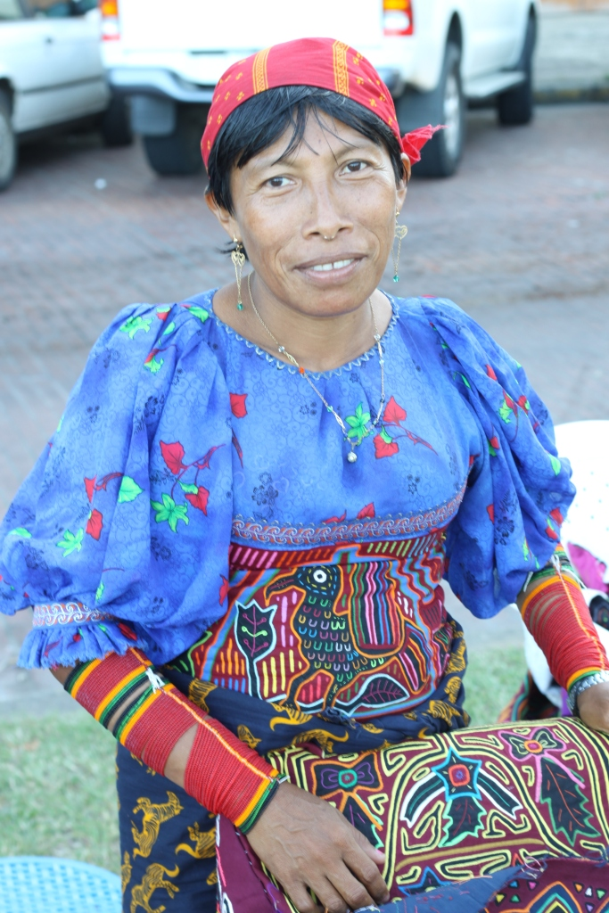 A Kuna woman selling traditional molas