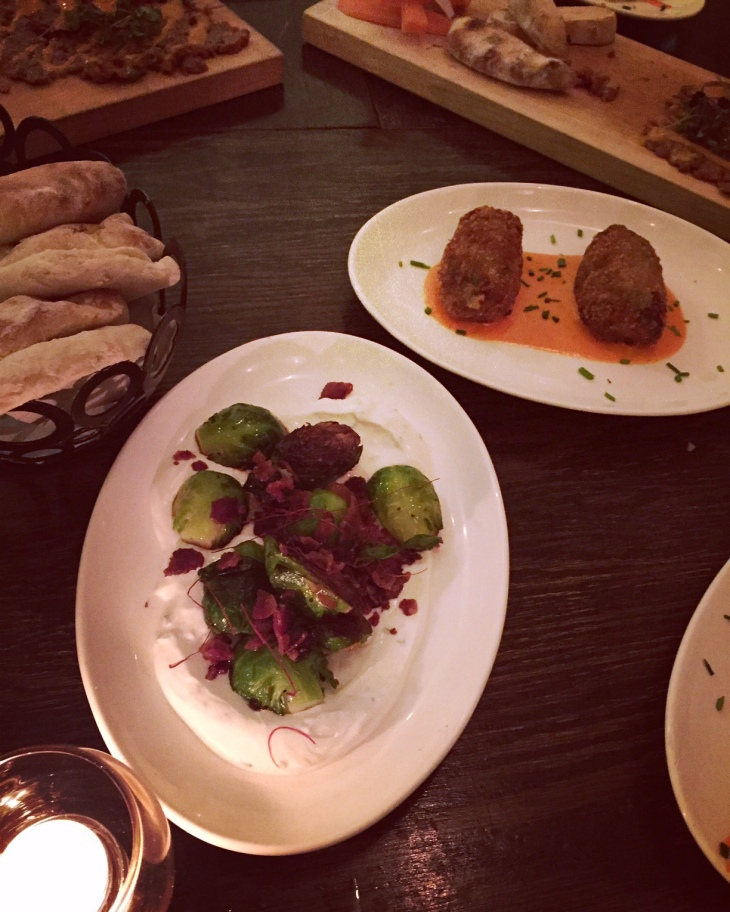 Brussels Sprouts with Bacon and Croquettes at Ambar
