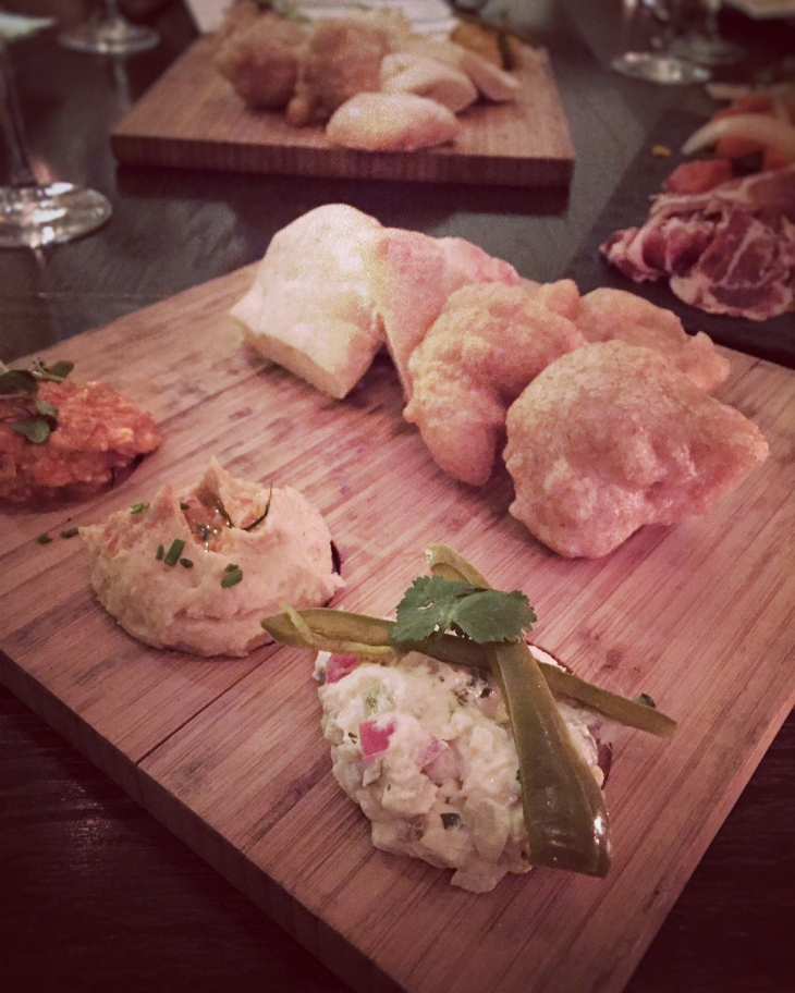 Spreads with house made bread and charcuterie platter at Ambar
