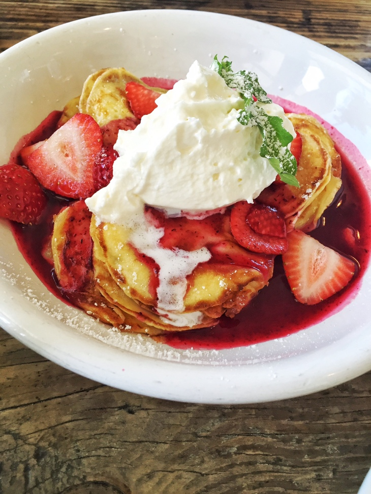 Swedish Mini Pancakes with Cream and Strawberries at the Malibu Farm Cafe