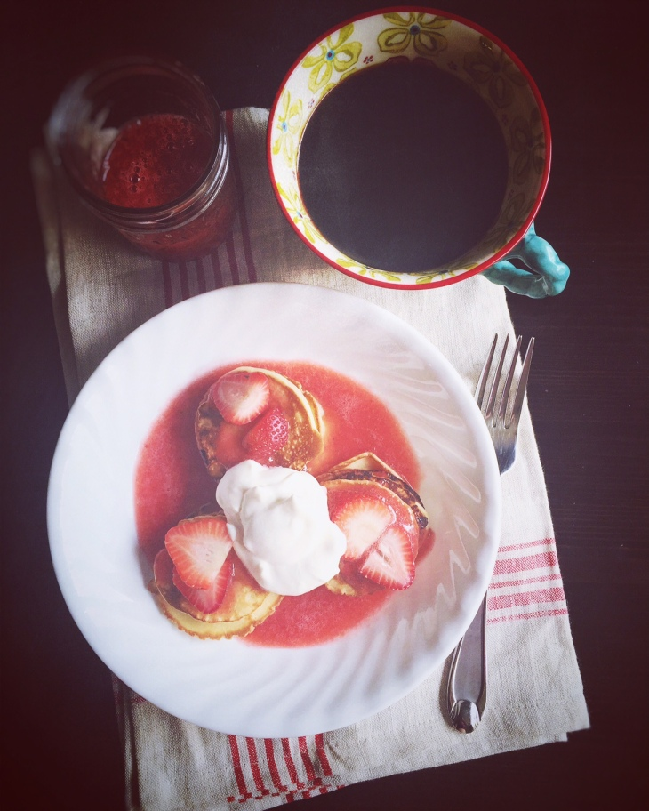 Swedish Pancakes with Whipped Cream Strawberry Sauce and Fresh Strawberries