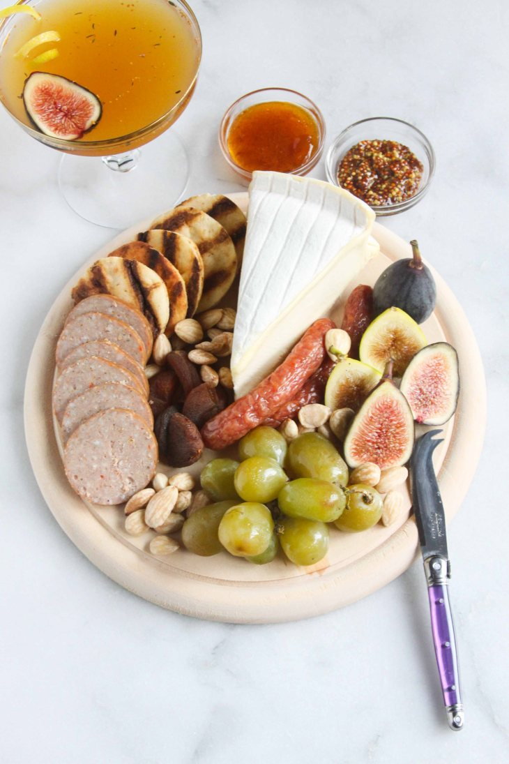 Charcuterie Platter and Fig-Thyme Cocktail