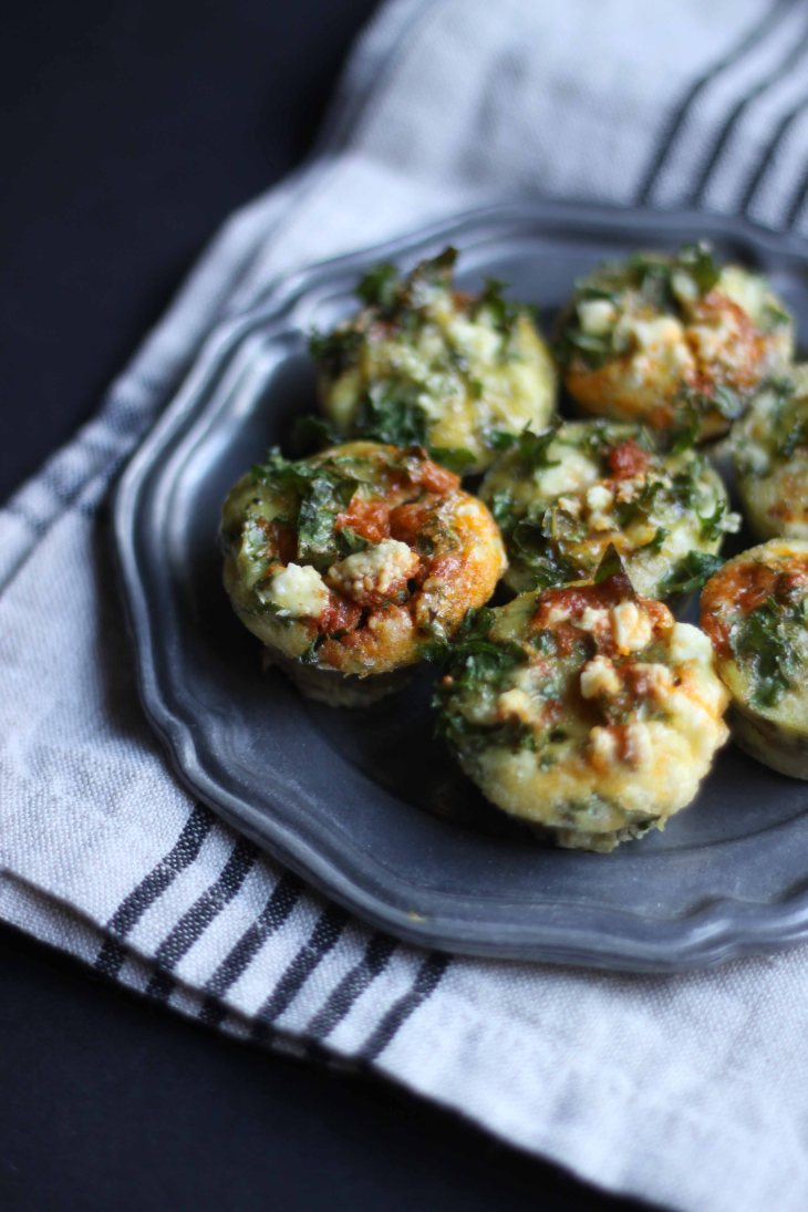 Mini Egg Muffins with Sun-Dried Tomato Pesto and Feta